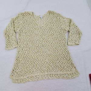 J Jill Sweater L Green Crochet Open Loose Knit Whi